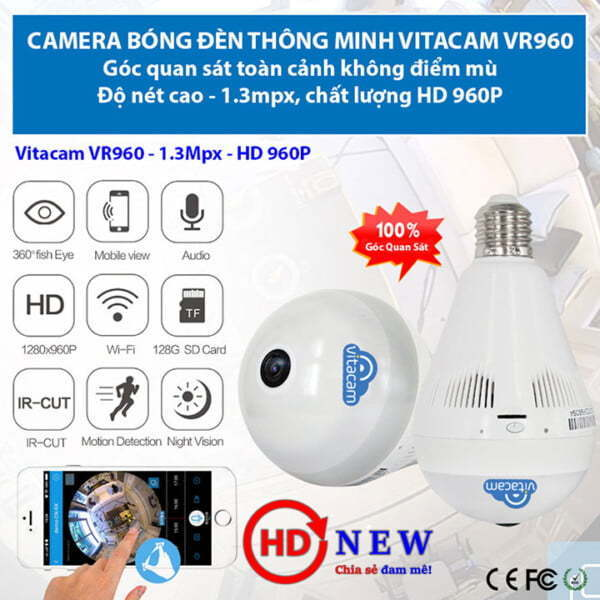 Vitacam VR960 - Camera panorama góc siêu rộng, 1.3MP (HD 960P) | HDnew Camera
