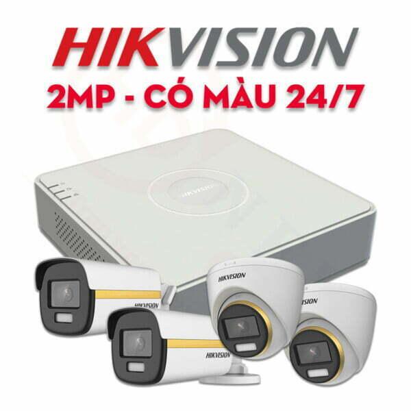 Bộ camera quan sát Hikvision HDTVI 2MP ColorVu, có màu 24/7 | HDnew CCTV