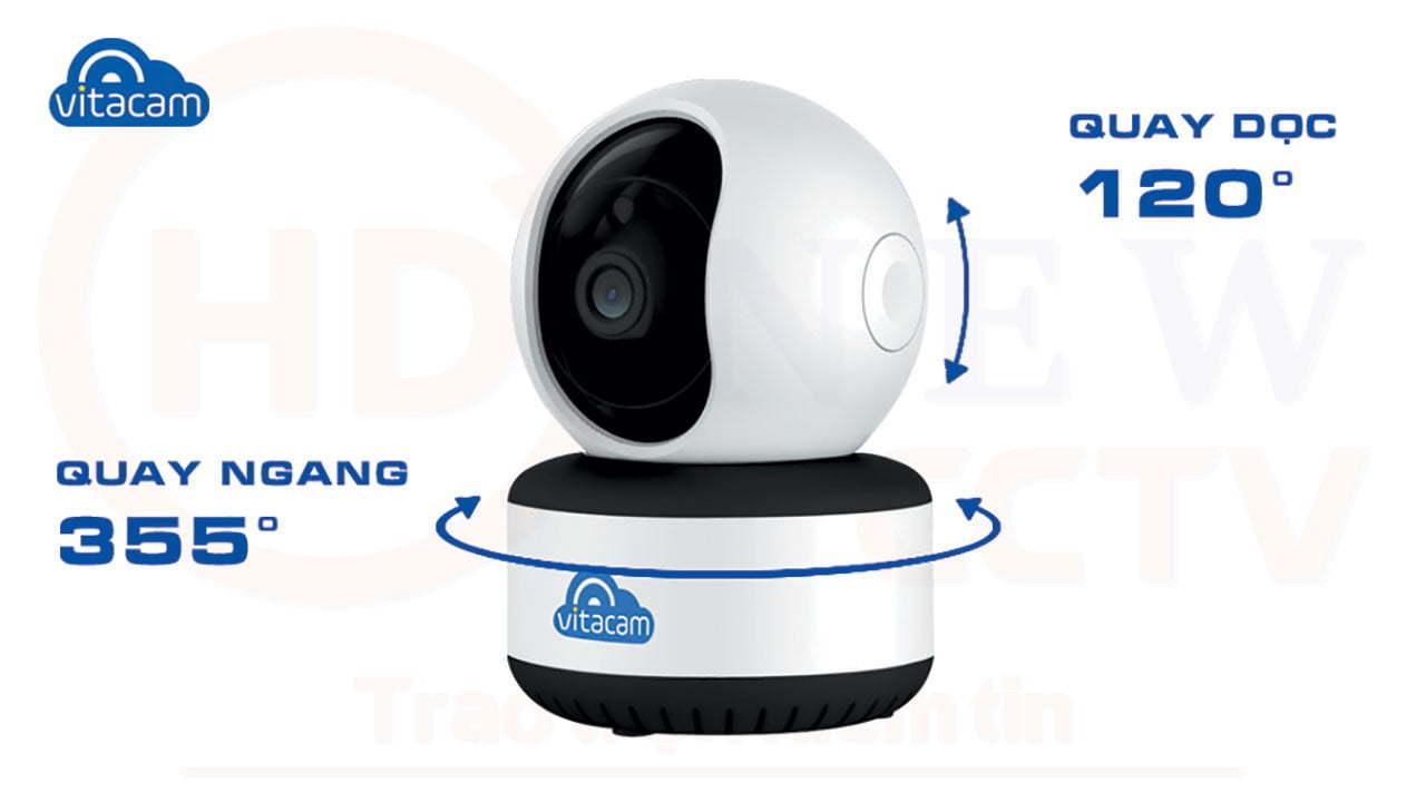 Vitacam C1080 Pro - Camera IP 3MP góc siêu rộng, công nghệ AI, xoay 360 độ | HDnew CCTV